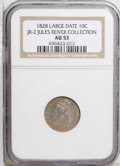 Bust Dimes: , 1828 10C Large Date AU53 NGC. JR-2, R.3. Reiver state a. Pleasinggolden toning with luster in the protected areas. Most de...