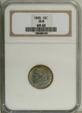 Bust Dimes: , 1835 10C MS63 NGC. JR-8, R.3. Apple-green at the periphery withvarying degrees of cerulean, violet, and reddish-orange in ...