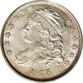 Bust Dimes: , 1835 10C MS64 PCGS. JR-1, R.1. An attractive, original piece,covered mostly in shades of olive-gray, and more than a littl...
