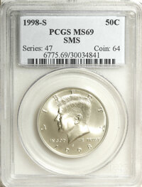 1998-S 50C SMS MS69 PCGS. PCGS Population (1394/148). NGC Census: (593/193). Numismedia Wsl. Price for NGC/PCGS coin in...