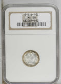 Barber Dimes: , 1914-D 10C MS66 NGC. Peripherally toned with antique-gold and sea-green shades, the centers are brilliant. The remarkably l...