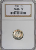 1945-S 10C MS68 ★ Full Bands NGC. Knob S. The sole example certified as MS68 ★ Full Bands by NGC (11/06), this piece ear...
