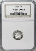 Proof Roosevelt Dimes: , 1951 10C PR69 ★ Cameo NGC. Richly frosted and practically perfectwith a hint of olive on the...