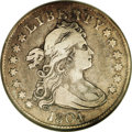 Early Quarters: , 1804 25C VF20 NGC. B-1, R.4. Tawny-gold and powder-blue patinavisit this glossy and evenly circulated key date quarter. A ...