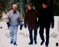Hockey Collectibles:Photos, 1990's Wayne Gretzky, Gordie Howe and Mario Lemieux Multi SignedOversized Photograph....