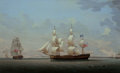Fine Art - Painting, American:Antique  (Pre 1900), ROBERT SALMON (Scottish/American, 1775-1844). The Estridge inTwo Views Off Dover, 1800. Oil on canvas. 26-1/2 x 43 inch...