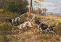 Fine Art - Painting, American:Modern  (1900 1949)  , PROPERTY FROM THE HOUSTON CLUB COLLECTION. EDMUND HENRY OSTHAUS(American, 1858-1928). English Setters in Field . Oil ...