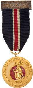 Golf Collectibles:Miscellaneous, 1934 Duke of Windor Lucifer Golfing Society Gold Medal....