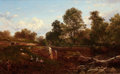 American:Hudson River School, DAVID JOHNSON (American, 1827-1908). The Children'sPlayground, 1873. Oil on canvas. 13-1/2 x 21-1/8 inches (34.3 x53.7...