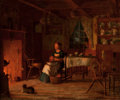 Fine Art - Painting, American:Antique  (Pre 1900), ENOCH WOOD PERRY (American, 1831-1915). Girl Peeling Fruit Before a Fire. Oil on wood panel. 20-1/2 x 24 inches (52.1 x ...
