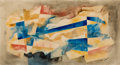 Works on Paper, BROR ALEXANDER UTTER (American, 1913-1993). Untitled Abstraction, 1961. Pencil and watercolor on paper laid on board. 13...