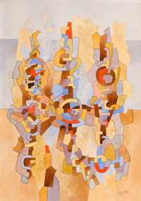 BROR ALEXANDER UTTER (American, 1913-1993) Abstract Forms III, 1984 Watercolor and ink on paper 2