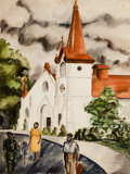 Works on Paper, CECILIA NEUHEISEL STEINFELDT (American, b. 1915). Baptist Church, San Antonio, 1939. Watercolor on paper . 24-1/2 x 18-1...