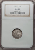 Barber Dimes: , 1906-S 10C MS63 NGC. NGC Census: (9/52). PCGS Population (14/65).Mintage: 3,136,640. Numismedia Wsl. Price for problem fre...