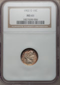Barber Dimes: , 1902-O 10C MS61 NGC. NGC Census: (3/59). PCGS Population (2/44).Mintage: 4,500,000. Numismedia Wsl. Price for problem free...