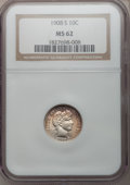 Barber Dimes: , 1908-S 10C MS62 NGC. NGC Census: (8/43). PCGS Population (20/71).Mintage: 3,220,000. Numismedia Wsl. Price for problem fre...