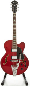 Musical Instruments:Electric Guitars, Ibanez AFS75T Cherry Semi-Hollow Body Electric Guitar, Serial#S08081314....
