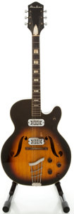 Musical Instruments:Electric Guitars, 1960's Airline H7279 Sunburst Semi-Hollow Body Electric Guitar...