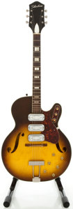 Musical Instruments:Electric Guitars, 1960's Silvertone H-1429 Sunburst Semi-Hollow Body ElectricGuitar...