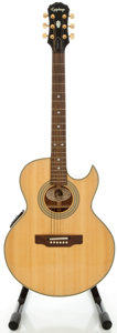 Musical Instruments:Acoustic Guitars, Epiphone PR-5E Natural Acoustic Electric Guitar, Serial #S95100024....