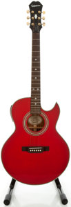 Musical Instruments:Acoustic Guitars, Epiphone PR-5E Red Acoustic Electric Guitar, Serial #01030192....