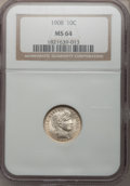 Barber Dimes: , 1908 10C MS64 NGC. NGC Census: (87/56). PCGS Population (99/53).Mintage: 10,600,545. Numismedia Wsl. Price for problem fre...