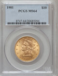 Liberty Eagles: , 1901 $10 MS64 PCGS. PCGS Population (1696/282). NGC Census:(2494/688). Mintage: 1,718,825. Numismedia Wsl. Price for probl...