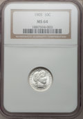 Barber Dimes: , 1905 10C MS64 NGC. NGC Census: (39/28). PCGS Population (55/29).Mintage: 14,552,350. Numismedia Wsl. Price for problem fre...