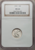 Barber Dimes: , 1901 10C MS64 NGC. NGC Census: (76/38). PCGS Population (83/48).Mintage: 18,860,478. Numismedia Wsl. Price for problem fre...