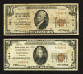 National Bank Notes:Michigan, Saginaw, MI - $10 1929 Ty. 1 and $20 1929 Ty. 1 Second NB & TC Ch. # 1918. ... (Total: 2 notes)