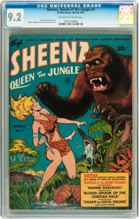 Sheena, Queen of the Jungle #3 (Fiction House, 1943) CGC NM- 9.2 Off-white to white pages