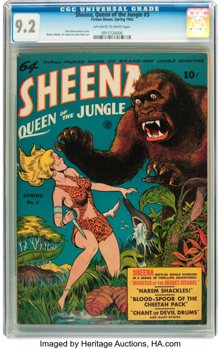 Sheena, Queen of the Jungle #3 (Fiction House, 1943) CGC NM- 9.2 Off-white to white pages....