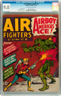 Golden Age (1938-1955):War, Air Fighters Comics #9 (Hillman Fall, 1943) CGC VF/NM 9.0 Off-whiteto white pages....