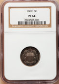 Proof Shield Nickels: , 1869 5C PR64 NGC. NGC Census: (105/145). PCGS Population (137/93).Mintage: 600. Numismedia Wsl. Price for problem free NGC...