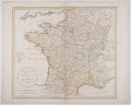 Antiques:Posters & Prints, [William] Gutherie. Engraved Map of France with Hand-Coloring.France, Divided into Metropolitan Circles, and Department...