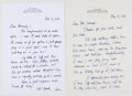 Books:Signed Editions, A. R. Gurney. Two Autograph Letters Signed and on Author's Letterhead. Single page each and dated 1998-2000...