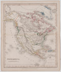 Antiques:Posters & Prints, J. Dower. Map of North America with Hand-Coloring. London: Orr,[ca. 1835]. 11 x 9 inches. Center fold. Mild toning to edges...