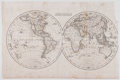 Antiques:Posters & Prints, Beautiful Engraved World Map. Mappe-Monde. [ca. 18thCentury]. Measures 10.5 x 16 inches. Trimmed close to binding e...