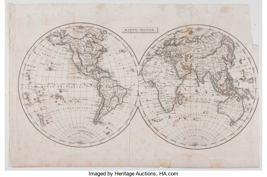 Beautiful Engraved World Map Mappe Monde Ca 18th Century Lot