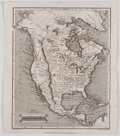 Antiques:Posters & Prints, J. Assheton. Steel Engraved Map of North America. London: ThomasTegg, 1826. Measures 11 x 9.25 inches. Center fold. Mild to...