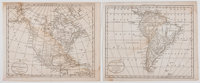 Two Engraved Maps of North and South America. From Brookes Gazetteer. 1791. Each measures 8.25 x 10.25 inc