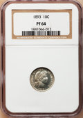 Proof Barber Dimes: , 1893 10C PR64 NGC. NGC Census: (45/114). PCGS Population (50/65).Mintage: 792. Numismedia Wsl. Price for problem free NGC/...