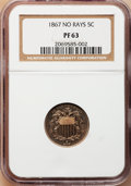 Proof Shield Nickels: , 1867 5C No Rays PR63 NGC. NGC Census: (29/169). PCGS Population(44/141). Mintage: 600. Numismedia Wsl. Price for problem f...
