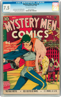 Mystery Men Comics #3 (Fox, 1939) CGC VF- 7.5 Off-white to white pages
