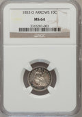 Seated Dimes: , 1853-O 10C Arrows MS64 NGC. NGC Census: (1/1). PCGS Population(3/1). Mintage: 1,100,000. Numismedia Wsl. Price for problem...