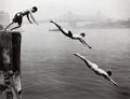 Photographs:20th Century, ARTHUR LEIPZIG (American, b. 1918). Divers, East River,1948. Gelatin silver, printed later. 14-3/4 x 19 inches (37.5 x ...