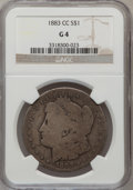 Morgan Dollars: , 1883-CC $1 Good 4 NGC. NGC Census: (7/16204). PCGS Population (4/33637). Mintage: 1,204,000. Numismedia Wsl. Price for prob...