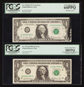 Error Notes:Error Group Lots, Fr. 1910-K $1 1977A Federal Reserve Note. PCGS Very Choice New64PPQ.. Fr. 1911-H $1 1981 Federal Reserve Note. PCGS Choice Ab...(Total: 2 notes)