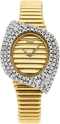 Timepieces:Wristwatch, Piaget Very Fine Lady's Diamond & Gold Bracelet Watch. ...