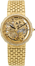 Timepieces:Wristwatch, Vacheron Constantin Exceptional Gent's Diamond Set Gold Skeleton Automatic Wristwatch. ...